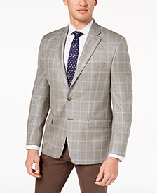 CLOSEOUT! Lauren Ralph Lauren Men's Classic-Fit Ultraflex Gray Windowpane Silk and Wool Sport Coat