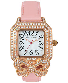 Betsey Johnson Women's Bow Gold-Tone Pink Leather Strap Watch 36x45mm