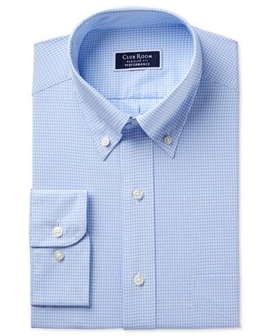 Club Room Men's Classic/Regular Fit Performance Mini Gingham Dress Shirt, Created for Macy's