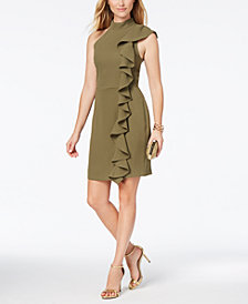 Adelyn Rae Ruffled Mock-Neck Sheath Dress