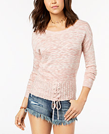 One Hart Juniors' Lace-Up Corset Sweater