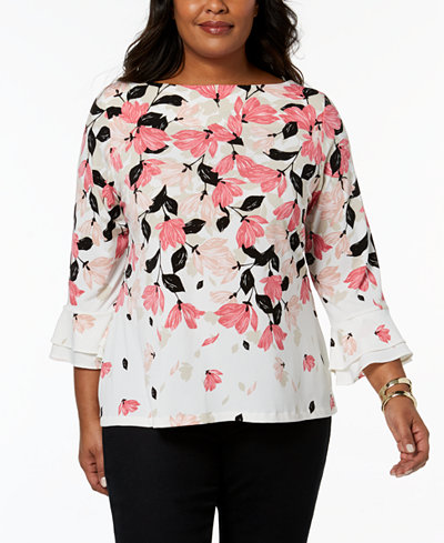 Charter Club Plus Size Boat-Neck Bell-Sleeve Top, Created for Macy's