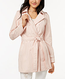 Celebrity Pink Juniors' Hooded Double-Breasted Trench Coat
