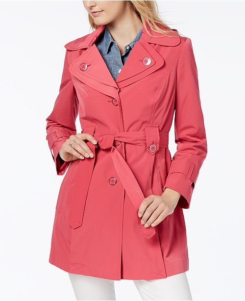 e951801958fb2 London Fog Petite Water-Resistant Hooded Double-Collar Trench Coat ...