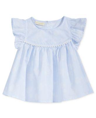 Striped Top with Pom-Pom Trim, Baby Girls, Created for Macy's