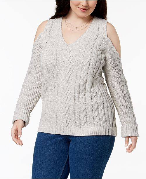 Love Scarlett Plus Size Cold Shoulder Cable Knit Sweater Sweaters