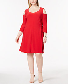 Love Scarlett Plus Size Cold-Shoulder Lace-Up Dress