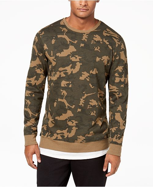 Men's Layered Camo Sweatshirt, Created for Macy's