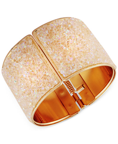 Say Yes to the Prom Gold-Tone Crystal Glitter Hinged Bangle Bracelet