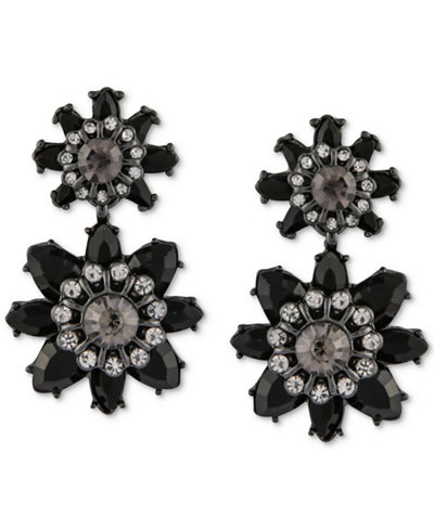 Say Yes to the Prom Hematite-Tone Crystal & Jet Stone Flower Drop Earrings