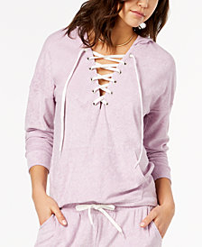Material Girl Active Juniors' Lace-Up Baby Terry Hoodie, Created for Macy's