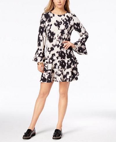 Bar III Printed Tiered-Hem Dress, Created for Macy's