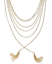 "I.N.C. Gold-Tone Multi-Chain & Tassel Layered Necklace, 17"" + 3"" extender, Created for Macy's"