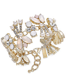 I.N.C. Gold-Tone Crystal, Pink Stone & Imitation Pearl Bracelet, Created for Macy's