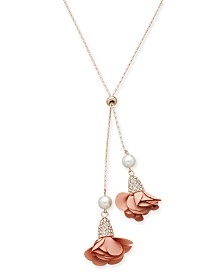 """I.N.C. Rose Gold-Tone Pearl, Pavé and Petal Lariat Choker Necklace 34"""""""