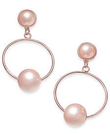 I.N.C. Rose Gold-Tone Pink Imitation Pearl Drop Hoop Earrings, Created for Macy's
