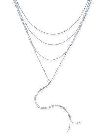 "I.N.C. Silver-Tone Multi-Layer Lariat Choker Necklace, 14"" + 3"" extender, Created for Macy's"