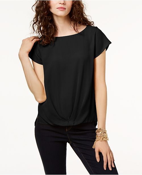 INC International Concepts INC Petite Draped-Hem Top, Created for Macy's