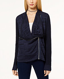 I.N.C. Mixed-Knit Zip-Front Cardigan, Created for Macy's