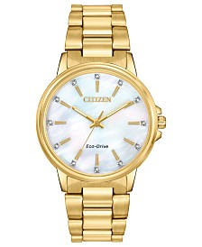 Citizen Drive From Citizen Eco-Drive Women's Chandler Gold-Tone Stainless Steel Bracelet Watch 37mm