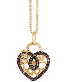 "Le Vian Chocolatier® Diamond Heart & Key 18"" Pendant Necklace (1/4 ct. t.w.) in 14k Gold"
