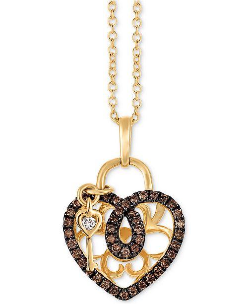 Le vian chocolatier diamond heart key 18 pendant necklace 14 main image mozeypictures Image collections