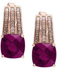 EFFY® Rhodolite (2-9/10 ct. t.w.) & Diamond (1/5 ct. t.w.) Drop Earrings in 14k Rose Gold