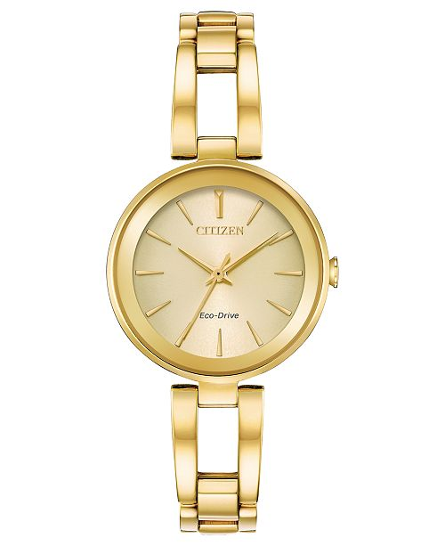 Women's Eco-Drive Axiom Gold-Tone Stainless Steel Bracelet Watch 28mm