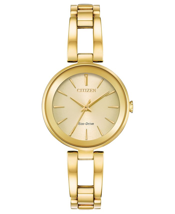 Citizen - Women's Eco-Drive Axiom Gold-Tone Stainless Steel Bracelet Watch 28mm