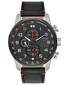Citizen Men's Chronograph Eco-Drive Primo Black Leather Strap Watch 45mm