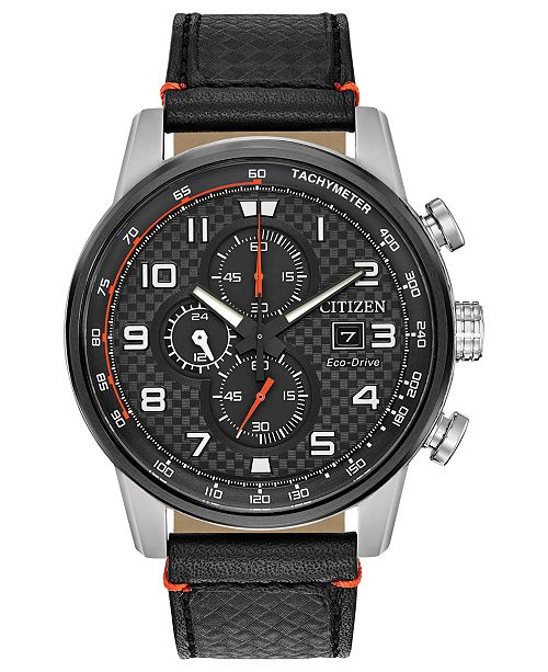 9eec24d7a88 ... Citizen Men s Chronograph Eco-Drive Primo Black Leather Strap Watch ...