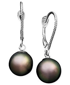 Pearl Earrings, 14k White Gold Cultured Tahitian Pearl Drop Earrings (8mm)