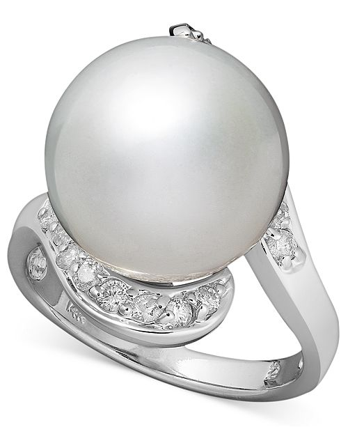 Macy's 14k White Gold Ring, Cultured South Sea Pearl (13mm) and Diamond (1/3 ct. t.w.) Ring