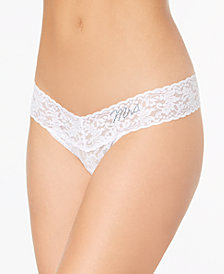 "Hanky Panky Low-Rise Sheer Lace ""Mrs."" Thong 4810T2"