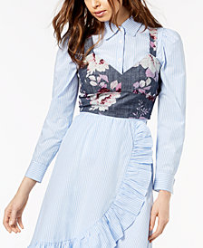 Jill Jill Stuart Cotton Chambray Crop Top, Created for Macy's