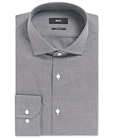 BOSS Men's Regular/Classic-Fit Micro-Houndstooth Cotton Dress Shirt