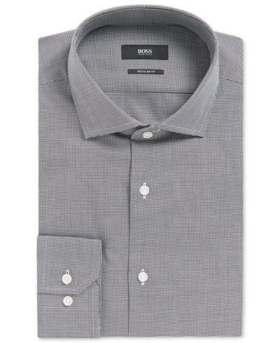 BOSS Men's Regular/Classic-Fit Micro-Houndstooth Cotton Dress Shirt