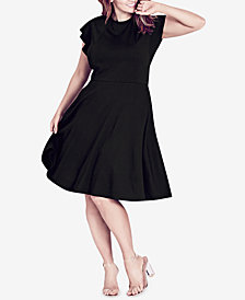 City Chic Trendy Plus Size Ruffled-Shoulder A-Line Dress