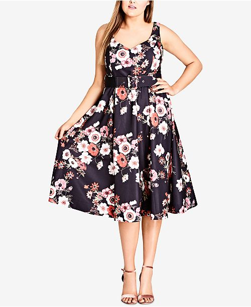 City Chic Trendy Plus Size Belted A-Line Dress & Reviews - Dresses ...