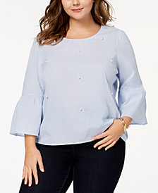 Almost Famous Trendy Plus Size Cotton Embellished Blouse