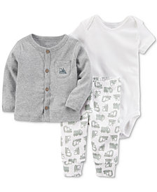 Carters Little Planet Organics  3-Pc. Cotton Cardigan, Pants & Bodysuit Set, Baby Boys