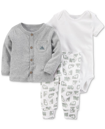 Carters Little Planet Organics 3-Pc. Cotton Cardigan, Pants & Bodysuit Set, Baby Boys
