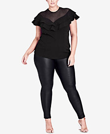 City Chic Trendy Plus Size Ruffled Illusion Top