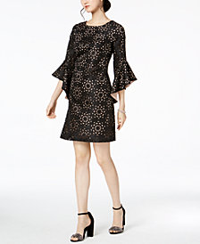 JAX Laser-Cut Jacquard Bell-Sleeve Dress