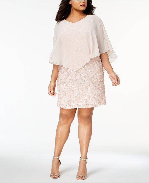 Connected Plus Size Chiffon Overlay Soutache Dress Dresses Women