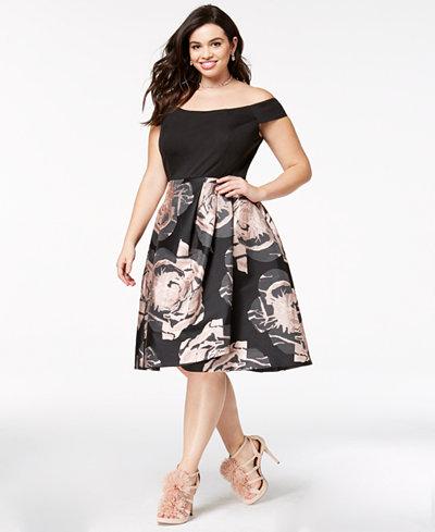 City Chic Trendy Plus Size Flirt Off-The-Shoulder Jacquard Dress