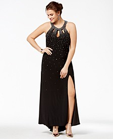 Trendy Plus Size Embellished Cutout Halter Gown