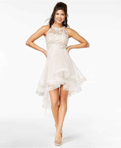 Say Yes to the Prom Juniors\' Shine Tiered High-Low Dress, Created ...