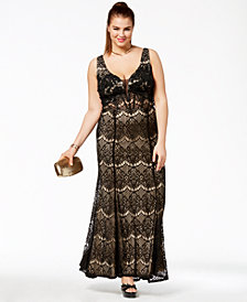 Say Yes To The Prom Trendy Plus Size Corset-Back Lace Gown, Created for Macy's