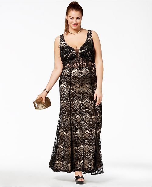Say Yes to the Prom Trendy Plus Size Corset-Back Lace Gown, Created ...